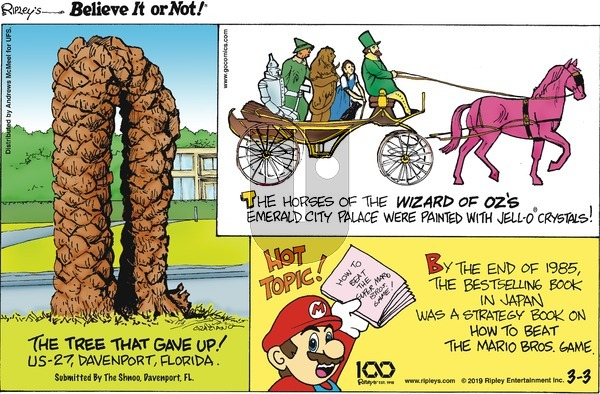 Ripley's Believe It or Not on Sunday March 3, 2019 Comic Strip