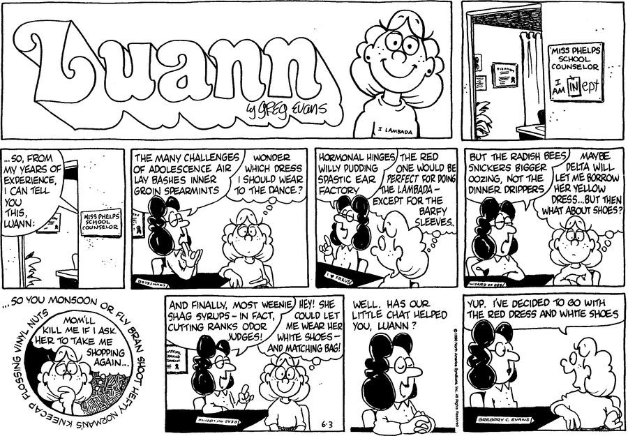 Luann Againn Comic Strip for June 03, 2018