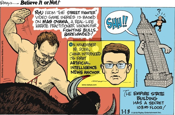 Ripley's Believe It or Not on Sunday January 13, 2019 Comic Strip