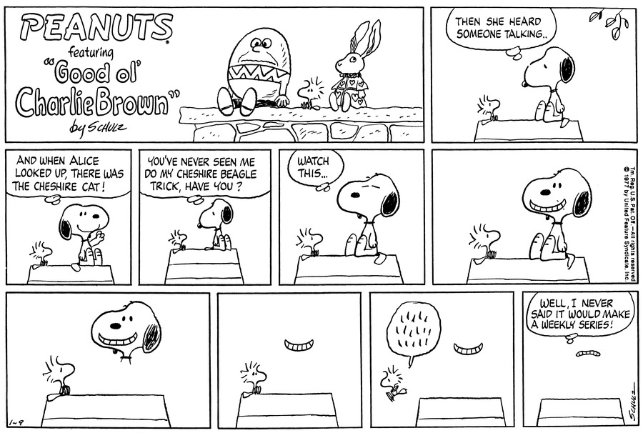 Peanuts Comic Strip for January 09, 1977