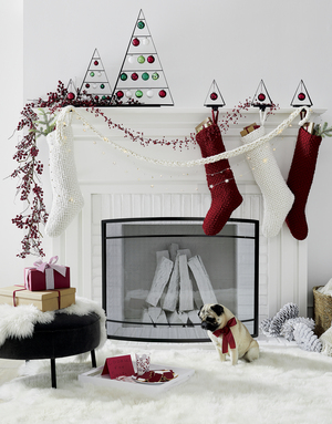 A delicate cranberry garland from Crate and Barrel pops against a white fireplace, where chunky knit stockings in white and cranberry hang, with the color also repeated in shiny ball ornaments that complement others. In addition, a white garland that looks hand-knitted is paired with a strand of sparkling metal stars. But it's to you to provide the beautifully wrapped presents, a snack for Santa and an adorable pup.