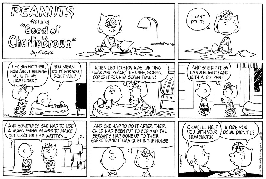 Peanuts Comic Strip for March 09, 1980
