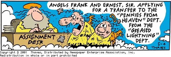 Frank and Ernest for May 4, 2001 Comic Strip