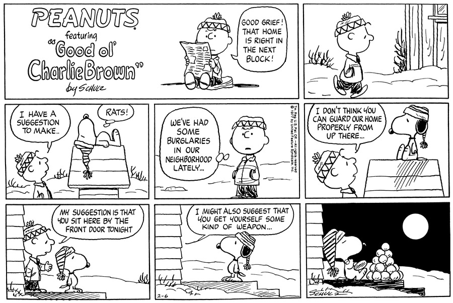 Peanuts Comic Strip for February 06, 1977