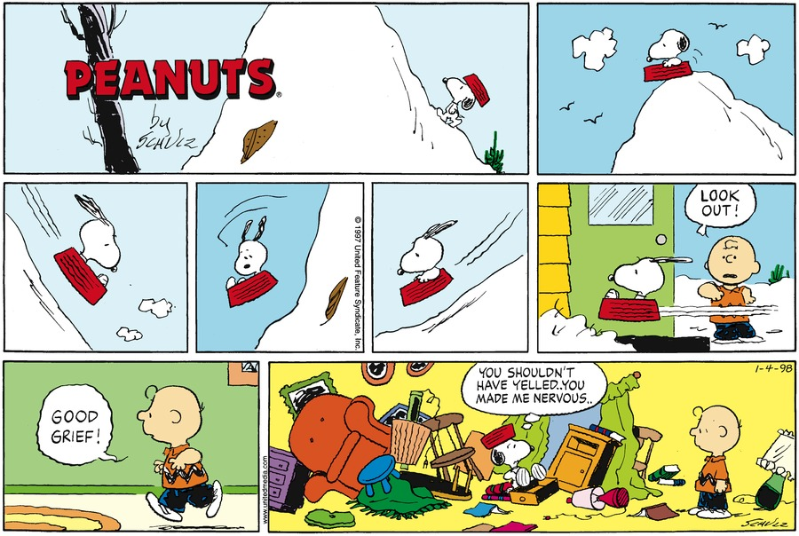 Peanuts Comic Strip for January 04, 1998