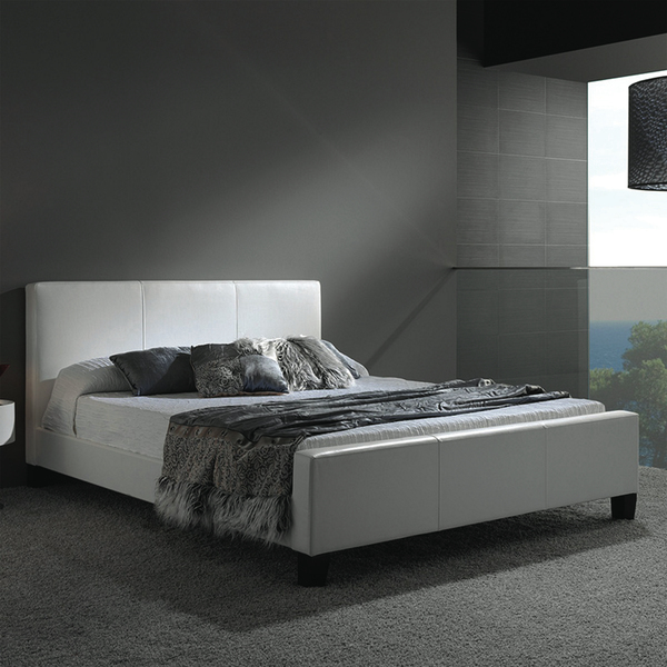 A light, bright and white Euro Platform Bed from Hayneedle blends a cool contemporary style with the richness and restful nature of a muted gray color scheme. Starting at $489, the platform is covered in faux leather with a low-profile design that requires a mattress only.