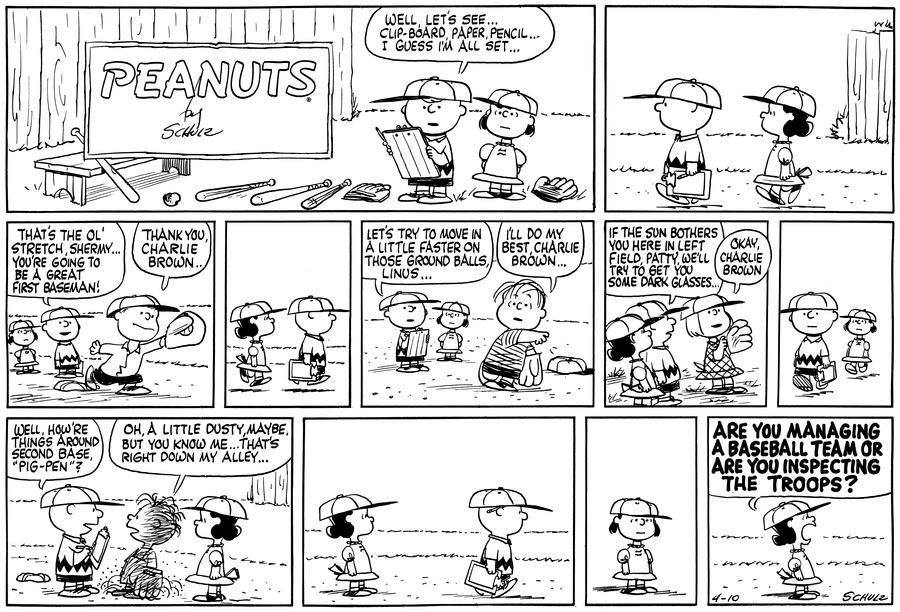 Peanuts Comic Strip for April 10, 1960