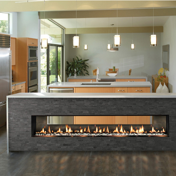 Emulating a kitchen island, today's contemporary hearth can be horizontally set onto the floor, which becomes a cool place for families to chill out with flames dancing in a sealed combustion chamber set beneath a countertop. This 4-foot-long SOLAS SEVENTY2 See-Thru fireplace adds a cool vibe to any space.