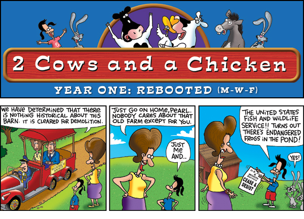 2 Cows and a Chicken for Sep 27, 2013 Comic Strip