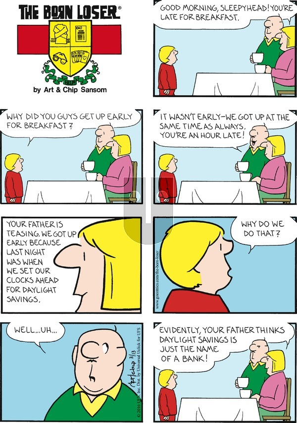 The Born Loser on Sunday March 13, 2016 Comic Strip