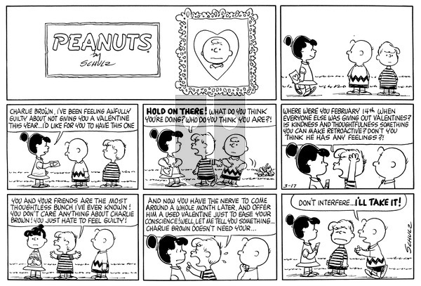 Peanuts on Sunday March 17, 1963 Comic Strip