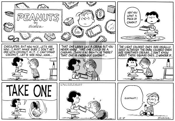 Peanuts on Sunday December 8, 1963 Comic Strip