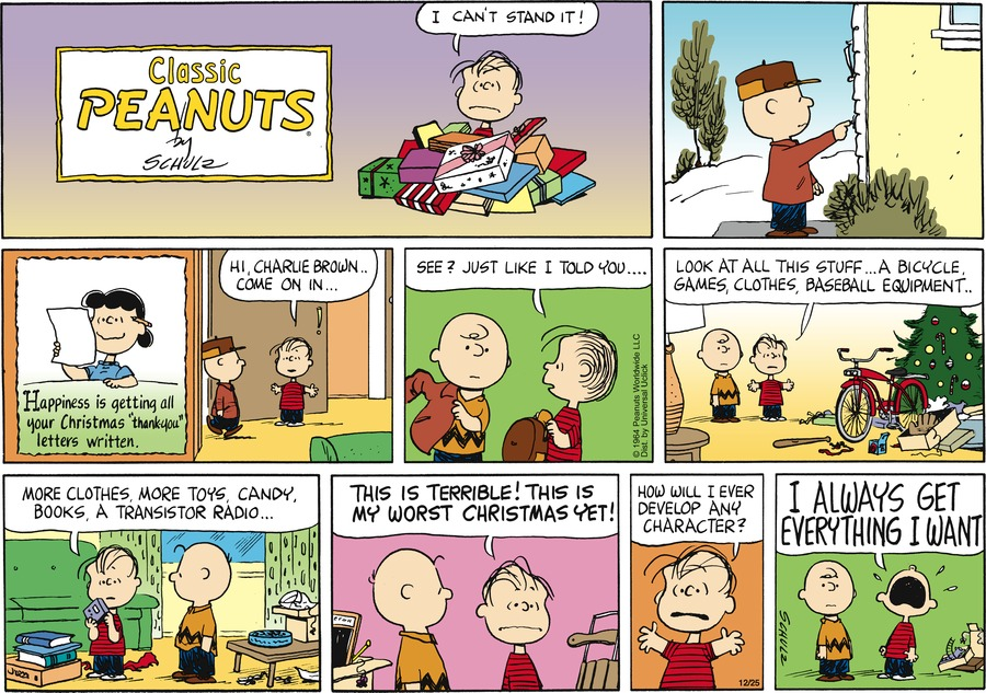 Peanuts Comic Strip for December 25, 2011