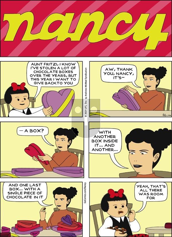 Nancy on Sunday February 14, 2021 Comic Strip