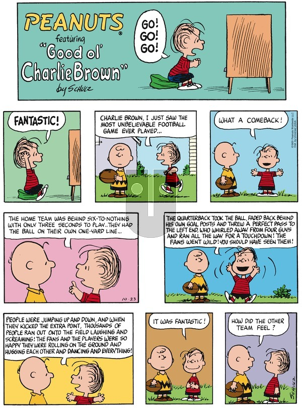 Peanuts - Sunday October 23, 2016 Comic Strip