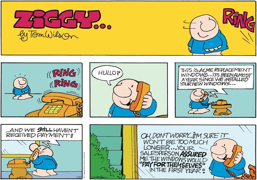 Ziggy for Nov 27, 2011 Comic Strip