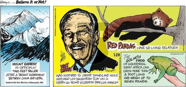 Ripley's Believe It or Not on Sunday January 24, 2021 Comic Strip