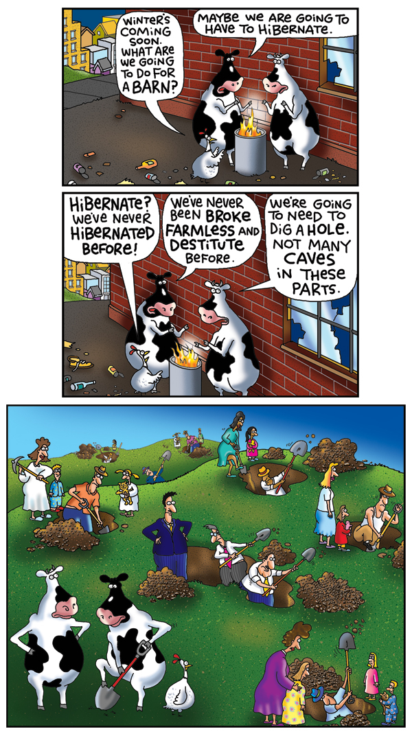 2 Cows and a Chicken for Dec 24, 2012 Comic Strip