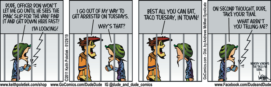 Dude and Dude Comic Strip for January 29, 2019