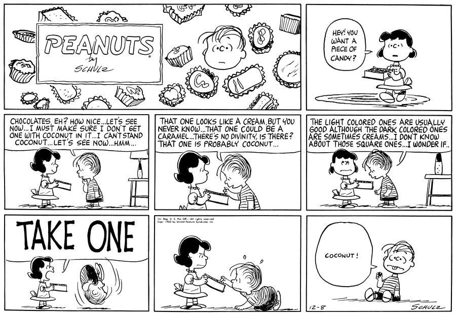 Peanuts Comic Strip for December 08, 1963