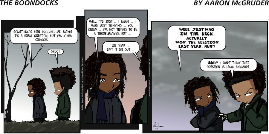 The Boondocks for Nov 25, 2001 Comic Strip