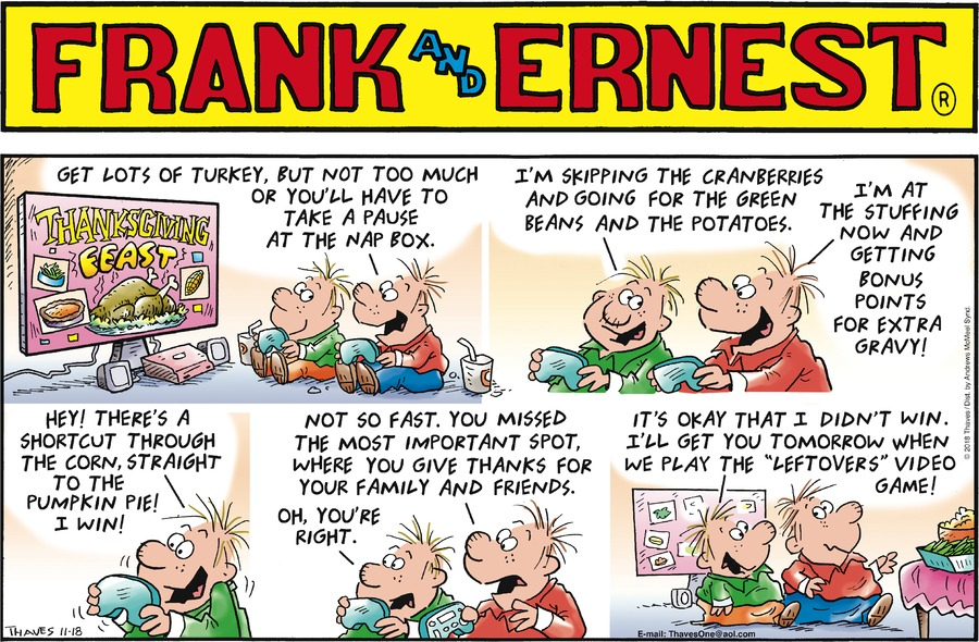 Frank and Ernest Comic Strip for November 18, 2018