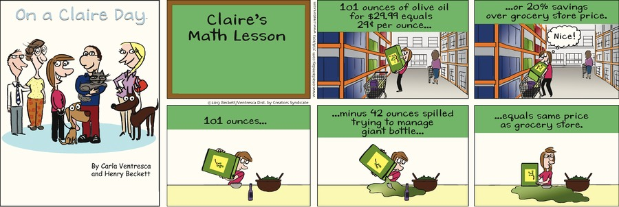 On A Claire Day Comic Strip for July 28, 2013