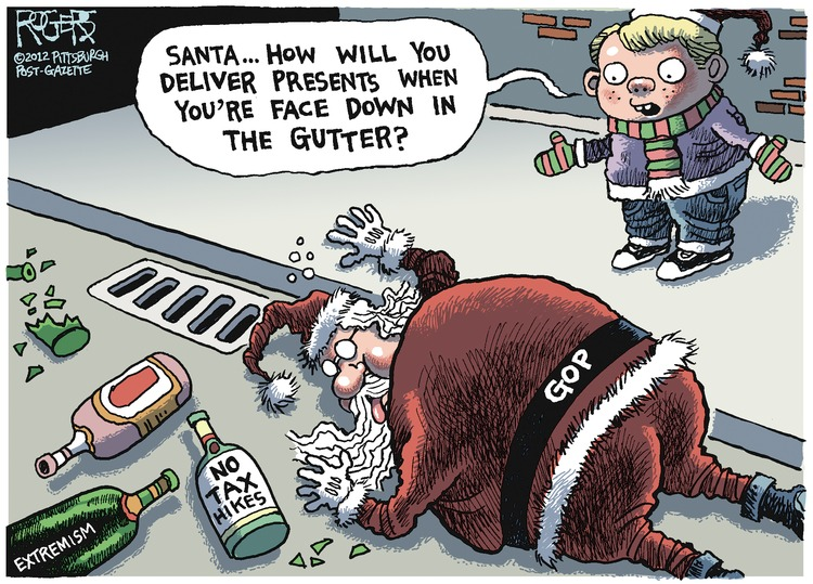 Boy: Santa... how will you deliver presents when you're face down in the gutter?