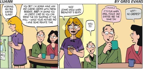Luann on Sunday April 1, 2018 Comic Strip