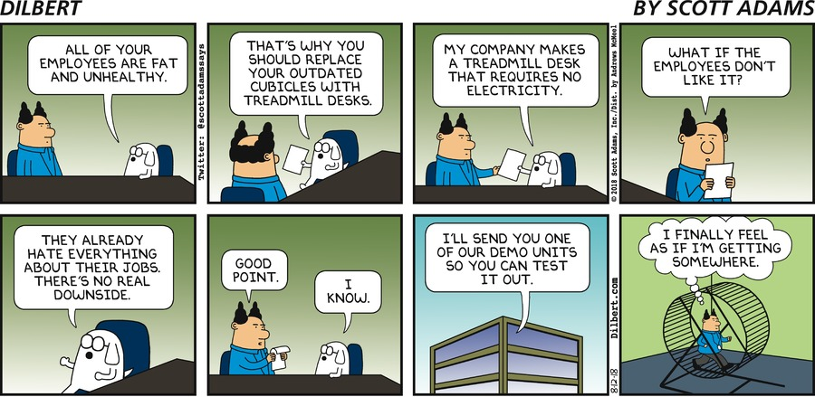 Dilbert: treadmills and cubicles
