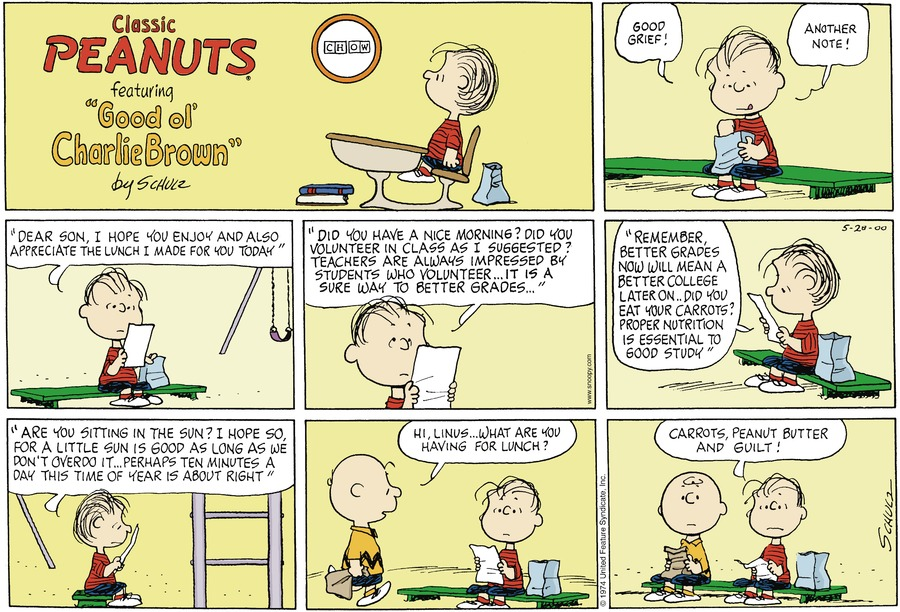Peanuts Comic Strip for May 28, 2000