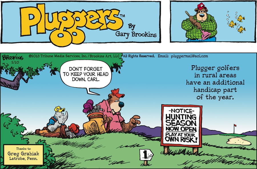 Pluggers for Feb 10, 2013 Comic Strip