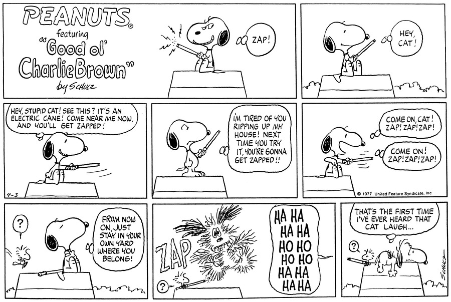 Peanuts Comic Strip for April 03, 1977