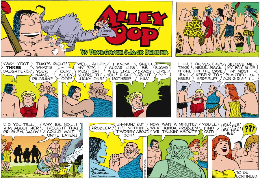 Alley Oop Comic Strip for March 01, 1998