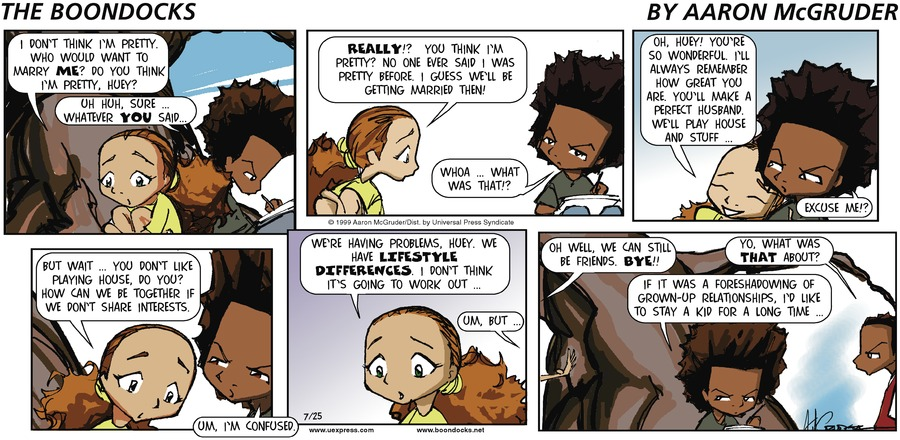 The Boondocks Comic Strip for July 25, 1999