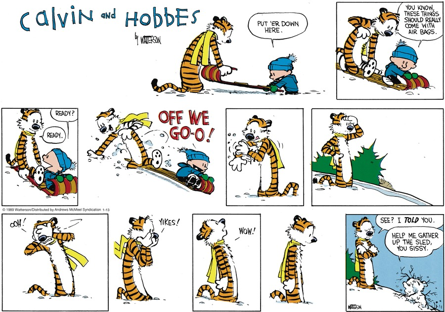 Calvin and Hobbes by Bill Watterson for January 13, 2019