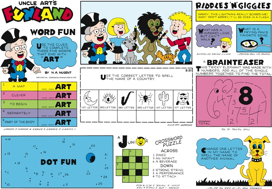 Uncle Art's Funland Comic Strip for August 31, 2014