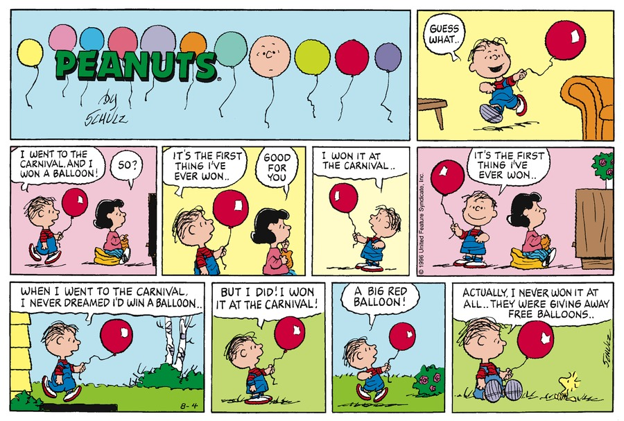 Peanuts Comic Strip for August 04, 1996