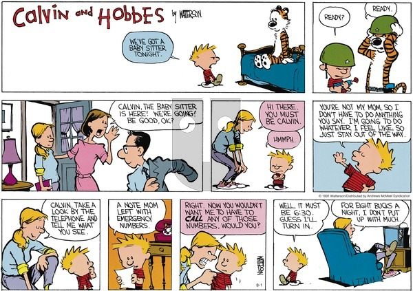 Calvin and Hobbes - Sunday August 1, 2021 Comic Strip