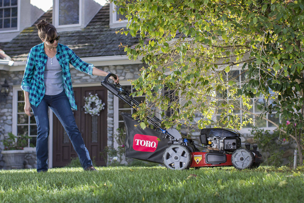 Gas-powered mowers are packed with innovations that make them easier to use than ever before. They're still the most popular models on the market. Toro's new PoweReverse mower backs out of tight spots. When you're finished mowing, it folds up to store upright, without spilling oil or fuel.