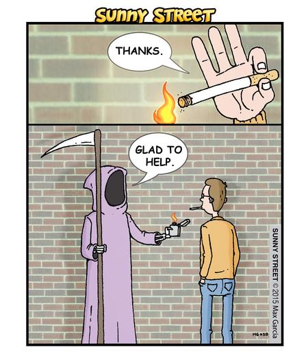 Man: Thanks.  Death: Glad to help.