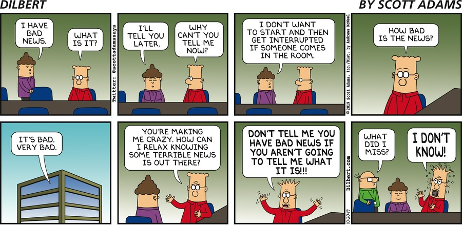 Bad News I Can't Tell You - Dilbert by Scott Adams