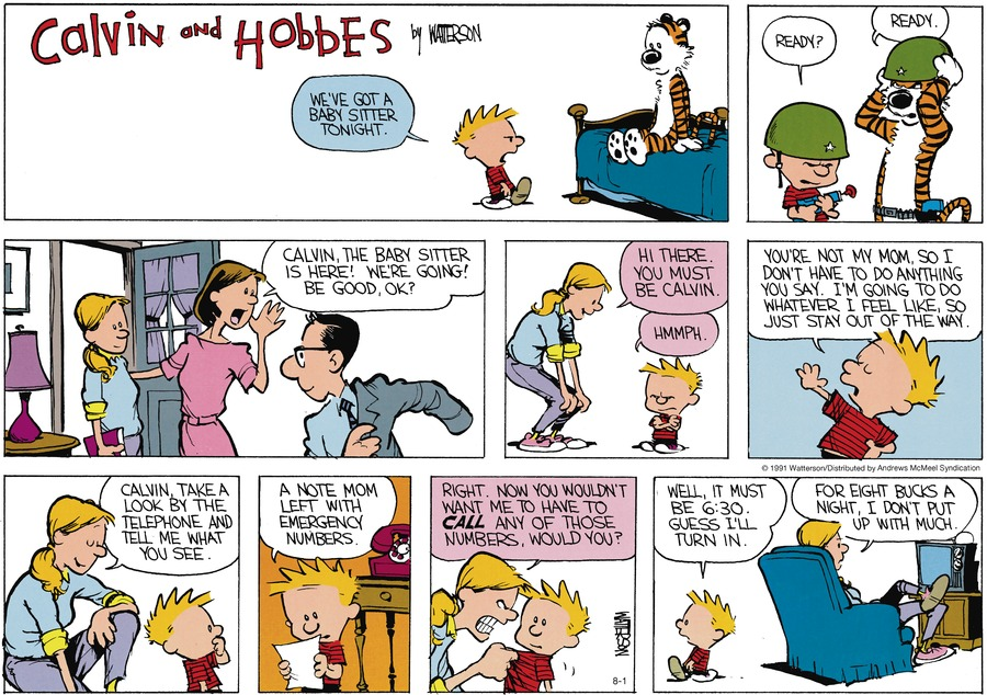 Calvin and Hobbes Comic Strip for August 01, 2021