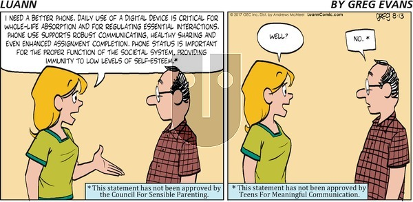 Luann on Sunday August 13, 2017 Comic Strip