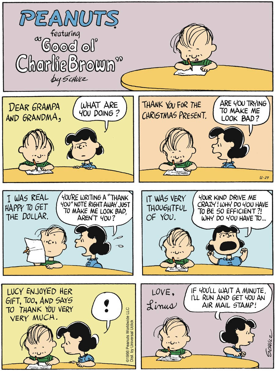Peanuts Comic Strip for December 29, 2013