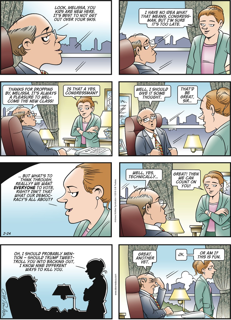 Doonesbury Comic Strip for February 24, 2019