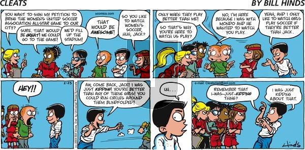 Cleats on Sunday February 23, 2003 Comic Strip