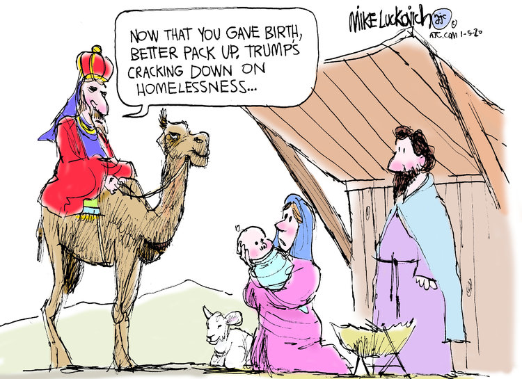 Magi on camel says to Holy Family in stable,