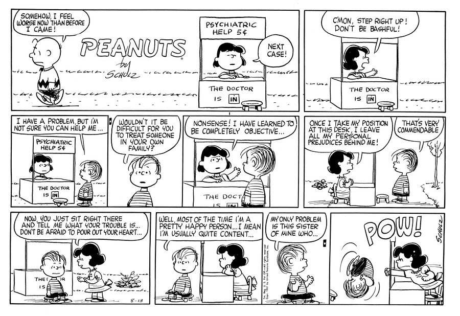 Peanuts Comic Strip for August 13, 1961