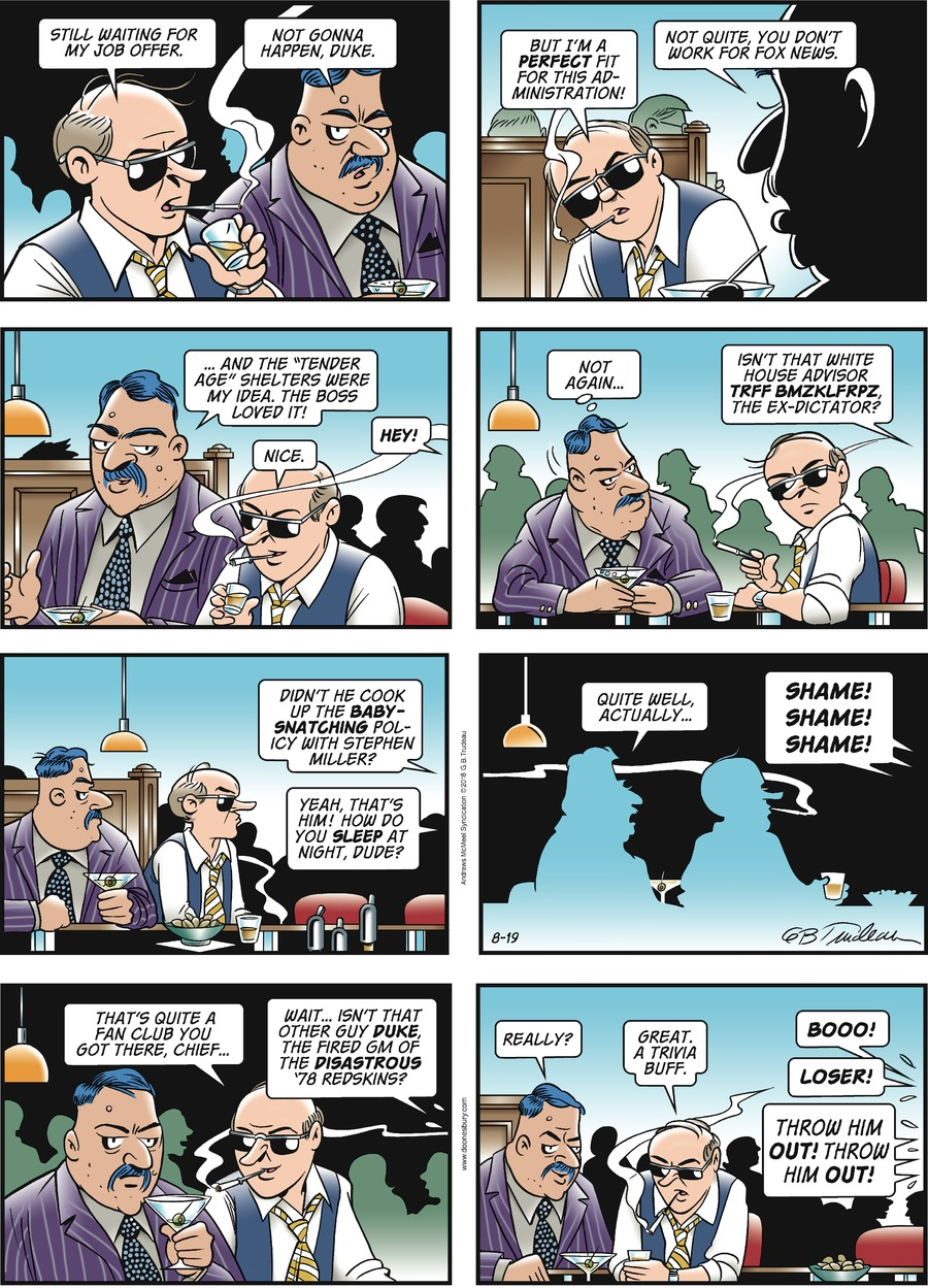 Doonesbury Comic Strip for August 19, 2018